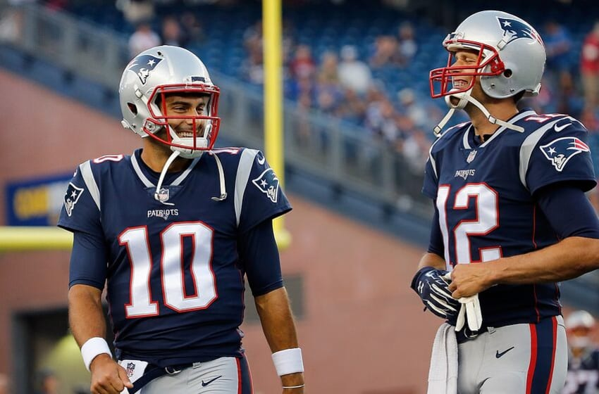 FOXBORO, MA - AUGUST 31: Jimmy Garoppolo #10 of the New England Patriots and Tom Brady #12 react before a preseason game with the New York Giants at Gillette Stadium on August 31, 2017 in Foxboro, Massachusetts. (Photo by Jim Rogash/Getty Images)