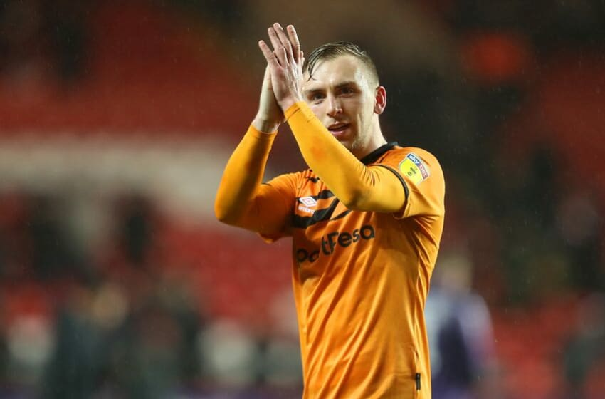 LONDON, ENGLAND - DECEMBER 13: Jarrod Bowen of Hull City acknowledges the fans after the Sky Bet Championship match between Charlton Athletic and Hull City at The Valley on December 13, 2019 in London, England. (Photo by James Chance/Getty Images)