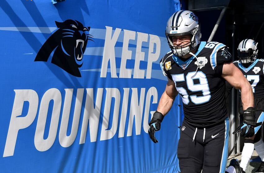 CHARLOTTE, NORTH CAROLINA - NOVEMBER 17: Luke Kuechly #59 of the Carolina Panthers takes the field before their game against the Atlanta Falcons at Bank of America Stadium on November 17, 2019 in Charlotte, North Carolina. (Photo by Grant Halverson/Getty Images)