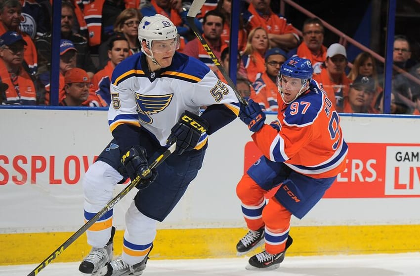 EDMONTON, AB - OCTOBER 15: Connor McDavid #97 of the Edmonton Oilers pursues Colton Parayko #55 of the St. Louis Blues on October 15, 2015 at Rexall Place in Edmonton, Alberta, Canada. (Photo by Andy Devlin/NHLI via Getty Images)