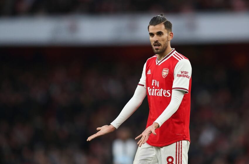 LONDON, ENGLAND - FEBRUARY 16: Dani Ceballos of Arsenal reacts during the Premier League match between Arsenal FC and Newcastle United at Emirates Stadium on February 16, 2020 in London, United Kingdom. (Photo by James Williamson - AMA/Getty Images)