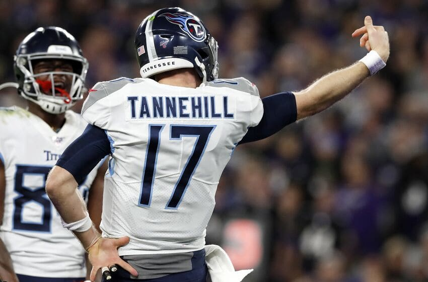BALTIMORE, MARYLAND - JANUARY 11: Quarterback Ryan Tannehill #17 of the Tennessee Titans celebrates after rushing for a touchdown in the third quarter of the AFC Divisional Playoff game against the Baltimore Ravens at M&T Bank Stadium on January 11, 2020 in Baltimore, Maryland. (Photo by Todd Olszewski/Getty Images)