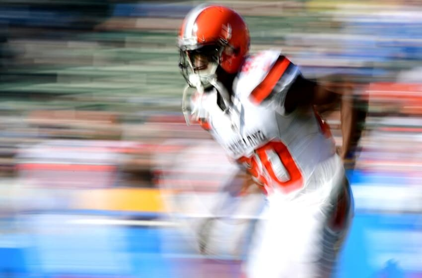 CARSON, CA - DECEMBER 03: Ricardo Louis #80 of the Cleveland Browns warms up prior to the game against the Los Angeles Chargers at StubHub Center on December 3, 2017 in Carson, California. (Photo by Harry How/Getty Images)