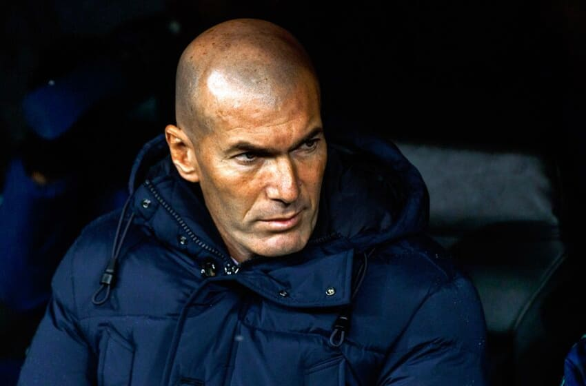 MADRID, SPAIN - NOVEMBER 26: head coach Zinedine Zidane of Real Madrid looks on prior to the UEFA Champions League group A match between Real Madrid and Paris Saint-Germain at Bernabeu on November 26, 2019 in Madrid, Spain. (Photo by TF-Images/Getty Images)