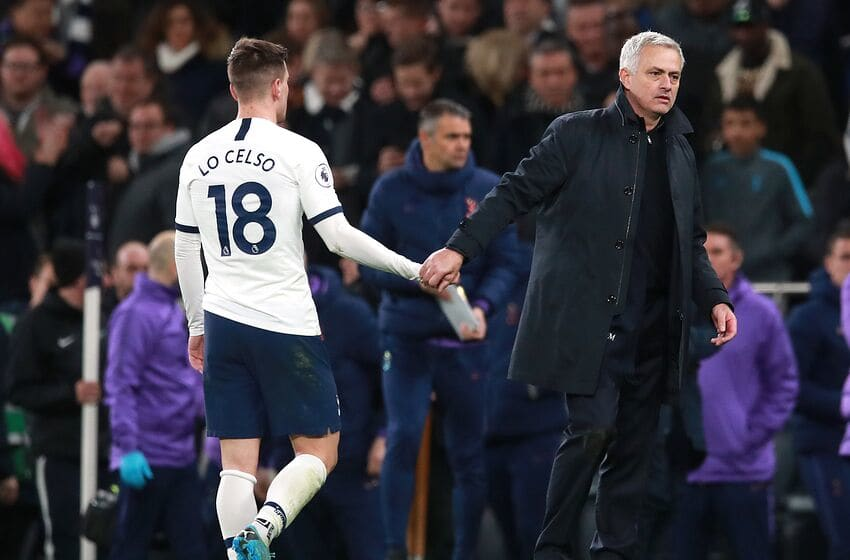 Tottenham Hotspur manager Jose Mourinho (right) shake hands with player Giovani Lo Celso after the final whistle Tottenham Hotspur v Liverpool - Premier League - Tottenham Hotspur Stadium 11-01-2020 . (Photo by Adam Davy/EMPICS/PA Images via Getty Images)