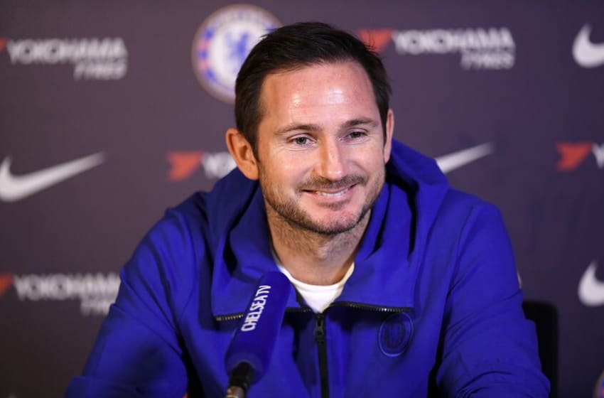 COBHAM, ENGLAND - JANUARY 10: Frank Lampard of Chelsea during a press conference at Chelsea Training Ground on January 10, 2020 in Cobham, United Kingdom. (Photo by Darren Walsh/Chelsea FC via Getty Images)