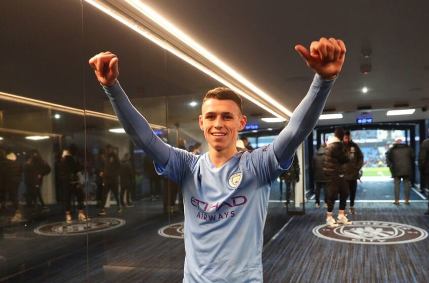 MANCHESTER, ENGLAND - JANUARY 04: Phil Foden of Manchester City celebrates in the tunnel after his team's victory in the FA Cup Third Round match between Manchester City and Port Vale at Etihad Stadium on January 04, 2020 in Manchester, England. (Photo by Victoria Haydn/Manchester City FC via Getty Images)