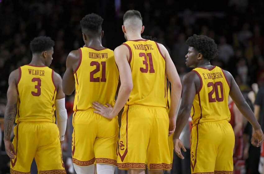 LOS ANGELES, CA - JANUARY 30: Elijah Weaver #3, Onyeka Okongwu #21, Nick Rakocevic #31 and Ethan Anderson #20 of the USC Trojans while playing the Utah Utes at Galen Center on January 30, 2020 in Los Angeles, California. USC won 56-52. (Photo by John McCoy/Getty Images)