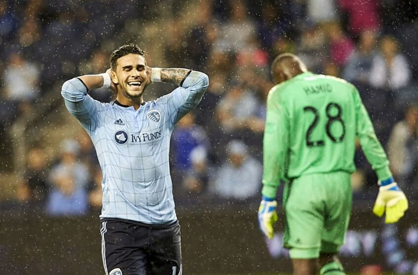 May 27, 2016; Kansas City, KS, USA; Sporting Kansas City forward Dom Dwyer (14) reacts to a call against the D.C. United at Children