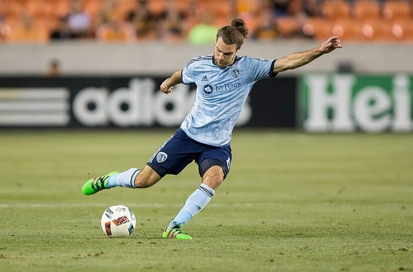 May 7, 2016; Houston, TX, USA; Sporting Kansas City midfielder Graham Zusi (8) in action during a game against the Houston Dynamo at BBVA Compass Stadium. Mandatory Credit: Troy Taormina-USA TODAY Sports