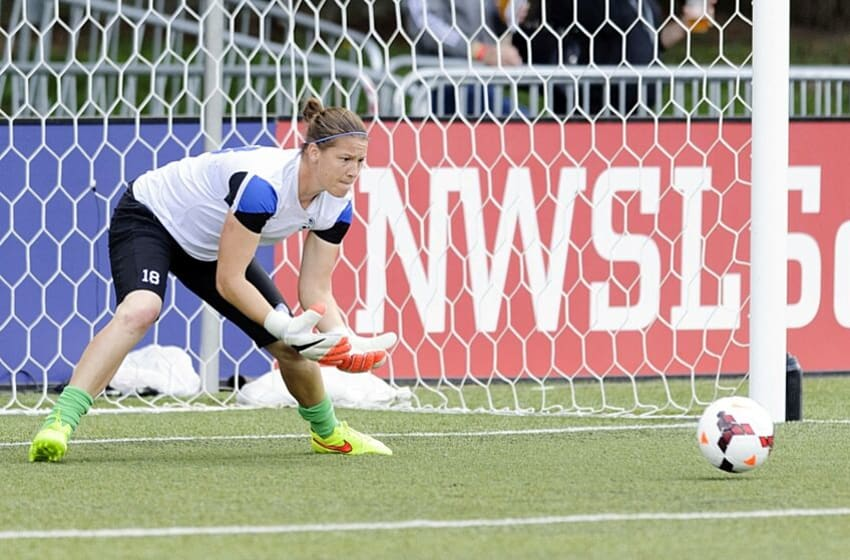 Aug 31, 2014; Tukwila, WA, USA; FC Kansas City goalkeeper Nicole Barnhart (18) during pre game warm ups prior to the game against the Seattle Reign FC at Starfire Soccer Stadium. Mandatory Credit: Steven Bisig-USA TODAY Sports