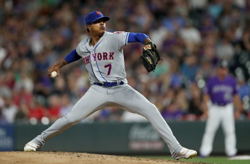 DENVER, COLORADO - SEPTEMBER 17: Marcus Stroman #7 of the New York Mets throws in the fifth inning against the Colorado Rockies at Coors Field on September 17, 2019 in Denver, Colorado. (Photo by Matthew Stockman/Getty Images)