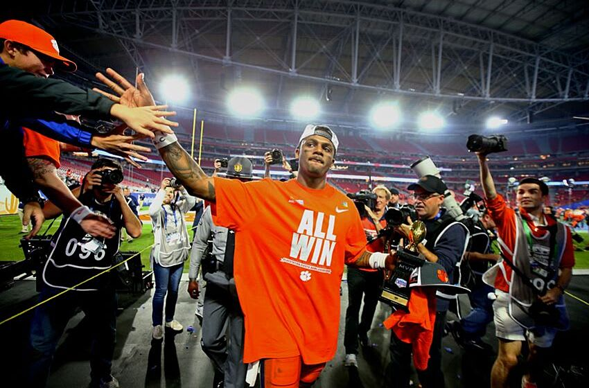 December 31, 2016; Glendale, AZ, USA; Clemson Tigers quarterback Deshaun Watson (4) celebrates following the game against the Ohio State Buckeyes during the 2016 CFP semifinal at University of Phoenix Stadium. Mandatory Credit: Mark J. Rebilas-USA TODAY Sports
