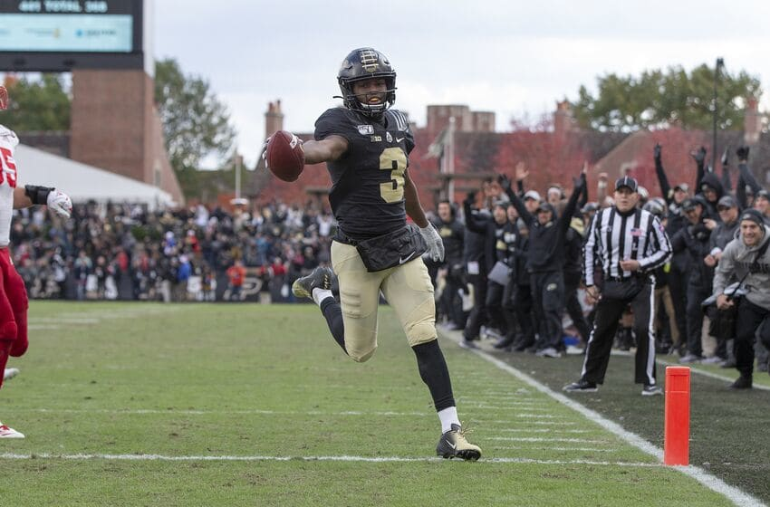 WEST LAFAYETTE, IN - NOVEMBER 02: David Bell #3 of the Purdue Boilermakers scores the go-ahead touchdown late in the fourth quarter against the Nebraska Cornhuskers at Ross-Ade Stadium on November 2, 2019 in West Lafayette, Indiana. (Photo by Michael Hickey/Getty Images)