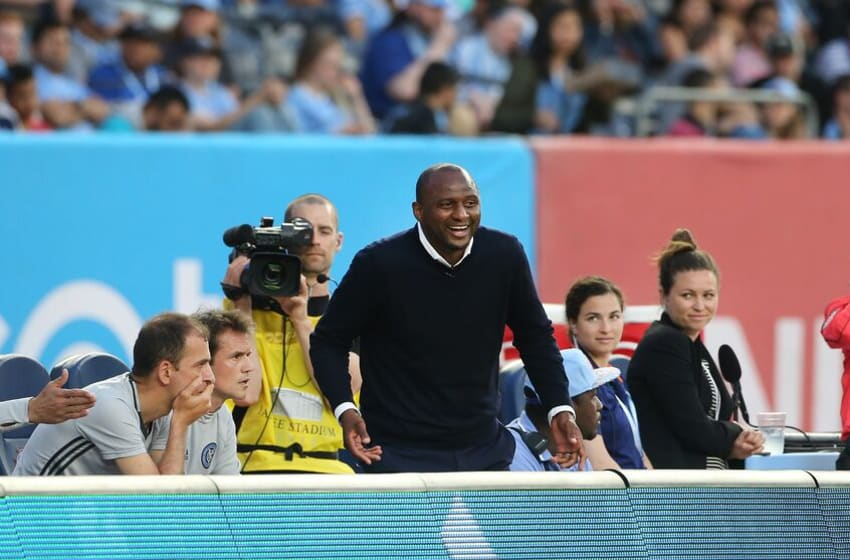 NEW YORK, NEW YORK - June 02: Patrick Vieira, head coach of NYCFC on the sideline during the NYCFC Vs Real Salt Lake regular season MLS game at Yankee Stadium on June 02, 2016 in New York City. (Photo by Tim Clayton/Corbis via Getty Images)