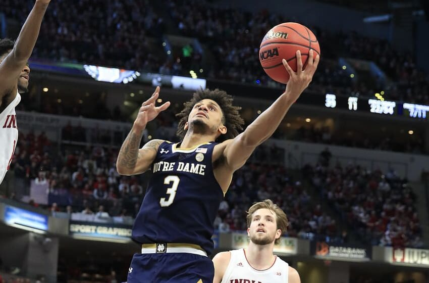 INDIANAPOLIS, INDIANA - DECEMBER 21: Prentiss Hubb #3 of the Notre Dame Fighting Irish shoots the ball against the Indiana Hoosiers during the Crossroads Classic at Bankers Life Fieldhouse on December 21, 2019 in Indianapolis, Indiana. (Photo by Andy Lyons/Getty Images)