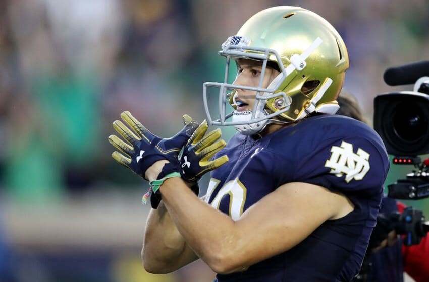 SOUTH BEND, IN - SEPTEMBER 01: Chris Finke #10 of the Notre Dame Fighting Irish celebrates his first quarter touchdown against the Michigan Wolverines at Notre Dame Stadium on September 1, 2018 in South Bend, Indiana. (Photo by Gregory Shamus/Getty Images)