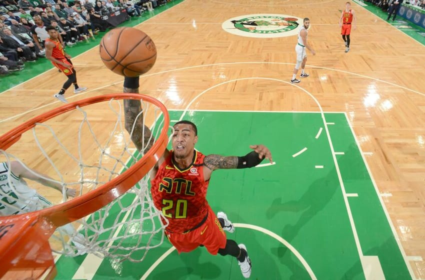 BOSTON, MA - JANUARY 3: John Collins #20 of the Atlanta Hawks dunks the ball against the Boston Celtics on January 3, 2020 at the TD Garden in Boston, Massachusetts. NOTE TO USER: User expressly acknowledges and agrees that, by downloading and or using this photograph, User is consenting to the terms and conditions of the Getty Images License Agreement. Mandatory Copyright Notice: Copyright 2020 NBAE (Photo by Brian Babineau/NBAE via Getty Images)