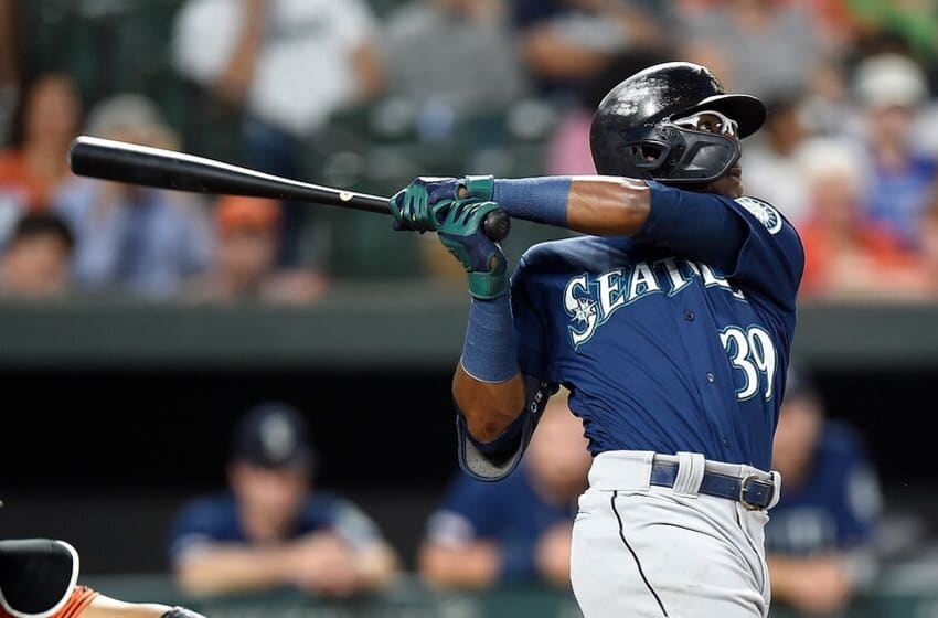 BALTIMORE, MD - SEPTEMBER 21: Shed Long #39 of the Seattle Mariners bats against the Baltimore Orioles at Oriole Park at Camden Yards on September 21, 2019 in Baltimore, Maryland. (Photo by G Fiume/Getty Images)