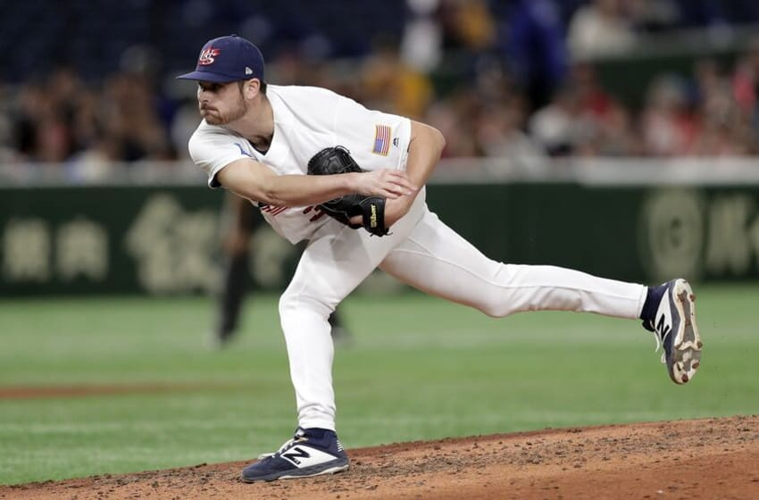 TOKYO, JAPAN - NOVEMBER 15: Pitcher Wyatt Mills #36 of the United States in the top of 6th inning during the WBSC Premier 12 Super Round game between USA and Chinese Taipei at the Tokyo Dome on November 15, 2019 in Tokyo, Japan. (Photo by Kiyoshi Ota/Getty Images)