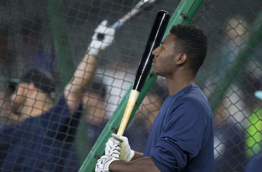 SEATTLE, WA - JUNE 11: Seattle Mariners 2016 first round draft pick Kyle Lewis watches batting practice before a game between the Texas Rangers and the Seattle Mariners at Safeco Field on June 11, 2016 in Seattle, Washington. The Rangers won the game 2-1 in eleven innings. (Photo by Stephen Brashear/Getty Images)
