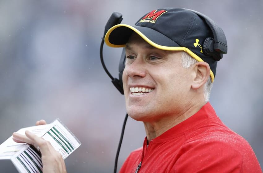 STATE COLLEGE, PA - OCTOBER 08: Head coach DJ Durkin of the Maryland Terrapins reacts in the first quarter against the Penn State Nittany Lions at Beaver Stadium on October 8, 2016 in State College, Pennsylvania. (Photo by Joe Robbins/Getty Images)
