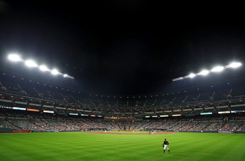 BALTIMORE, MD - JULY 27: Adam Jones #10 of the Baltimore Orioles looks on against the Tampa Bay Rays at Oriole Park at Camden Yards on July 27, 2018 in Baltimore, Maryland. (Photo by Patrick Smith/Getty Images)