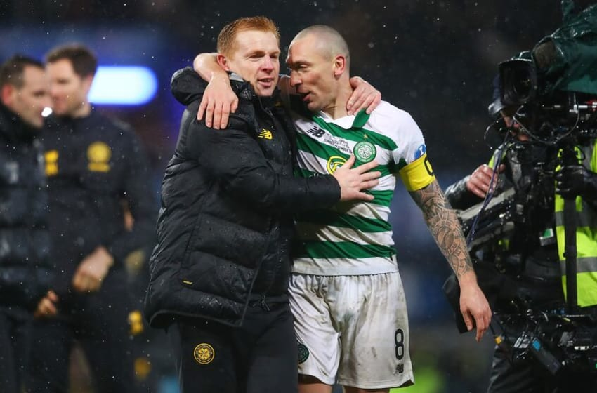 GLASGOW, SCOTLAND - DECEMBER 08: Neil Lennon, Manager of Celtic and Scott Brown of Celtic celebrate following the Betfred Cup Final between Rangers FC and Celtic FC at Hampden Park on December 08, 2019 in Glasgow, Scotland. (Photo by Michael Steele/Getty Images)