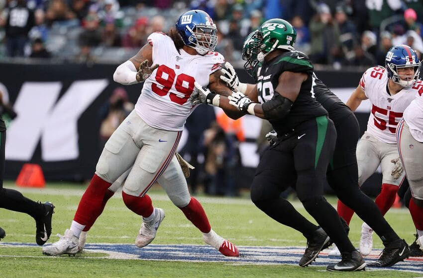 EAST RUTHERFORD, NEW JERSEY - NOVEMBER 10: Leonard Williams #99 of the New York Giants in action against the New York Jets during their game at MetLife Stadium on November 10, 2019 in East Rutherford, New Jersey. (Photo by Al Bello/Getty Images)