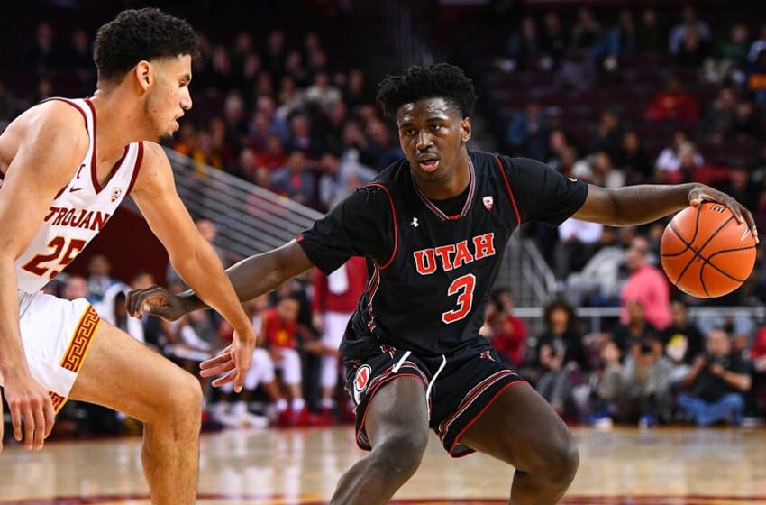 LOS ANGELES, CA - FEBRUARY 06: Utah forward Donnie Tillman (3) dribbles during a college basketball game between the Utah Utes and the USC Trojans on February 6, 2019 at Galen Center in Los Angeles, CA. (Photo by Brian Rothmuller/Icon Sportswire via Getty Images)