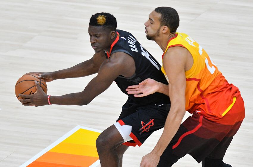 Clint Capela, Houston Rockets. Rudy Gobert, Utah Jazz. (Photo by Gene Sweeney Jr./Getty Images)