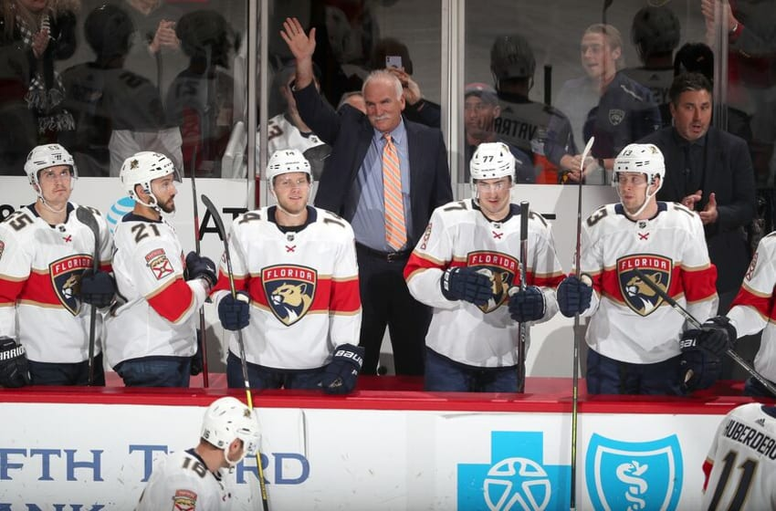 CHICAGO, IL - JANUARY 21: Florida Panthers head coach Joel Quenneville is recognized in the first period of the game between the Chicago Blackhawks and the Florida Panthers at the United Center on January 21, 2020 in Chicago, Illinois. (Photo by Chase Agnello-Dean/NHLI via Getty Images)