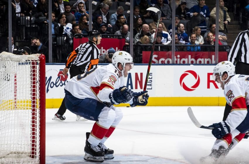 TORONTO, ON - FEBRUARY 3: Mark Pysyk #13 of the Florida Panthers celebrates after scoring his third goal of the night abasing the Toronto Maple Leafs during the third period at the Scotiabank Arena on February 3, 2020 in Toronto, Ontario, Canada. (Photo by Kevin Sousa/NHLI via Getty Images)