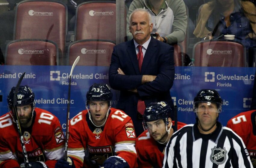 SUNRISE, FL - FEBRUARY 08: Florida Panthers head coach Joel Quenneville watches play during the third period on February 08, 2020, at BB&T Center in Sunrise, FL. (Photo by Douglas Jones/Icon Sportswire via Getty Images)