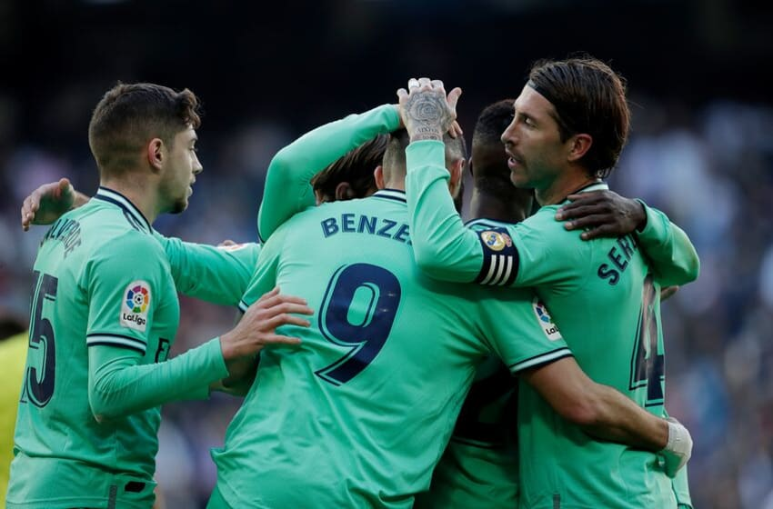MADRID, SPAIN - DECEMBER 7: Karim Benzema of Real Madrid celebrates 2-0 with Federico Valverde of Real Madrid, Sergio Ramos of Real Madrid, Vinicius Jr. of Real Madrid during the La Liga Santander match between Real Madrid v Espanyol at the Santiago Bernabeu on December 7, 2019 in Madrid Spain (Photo by David S. Bustamante/Soccrates/Getty Images)