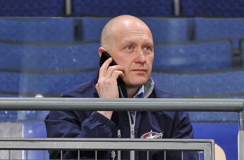 COLUMBUS, OH - MARCH 7: General Manager Jarmo Kekalainen of the Columbus Blue Jackets watches the team practice during the morning skate before playing against the Vancouver Canucks on March 7, 2013 at Nationwide Arena in Columbus, Ohio. (Photo by Jamie Sabau/NHLI via Getty Images)