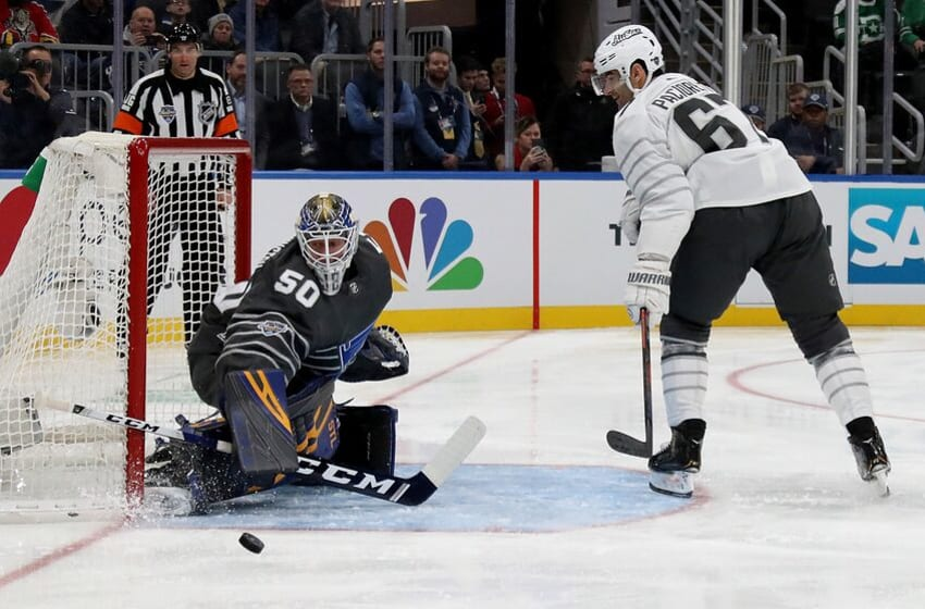 ST LOUIS, MISSOURI - JANUARY 25: Goaltender Jordan Binnington #50 of the St. Louis Blues defends the goal against Max Pacioretty #67 of the Vegas Golden Knights in the game between Pacific Division and Central Division during the 2020 Honda NHL All-Star Game at Enterprise Center on January 25, 2020 in St Louis, Missouri. (Photo by Bruce Bennett/Getty Images)