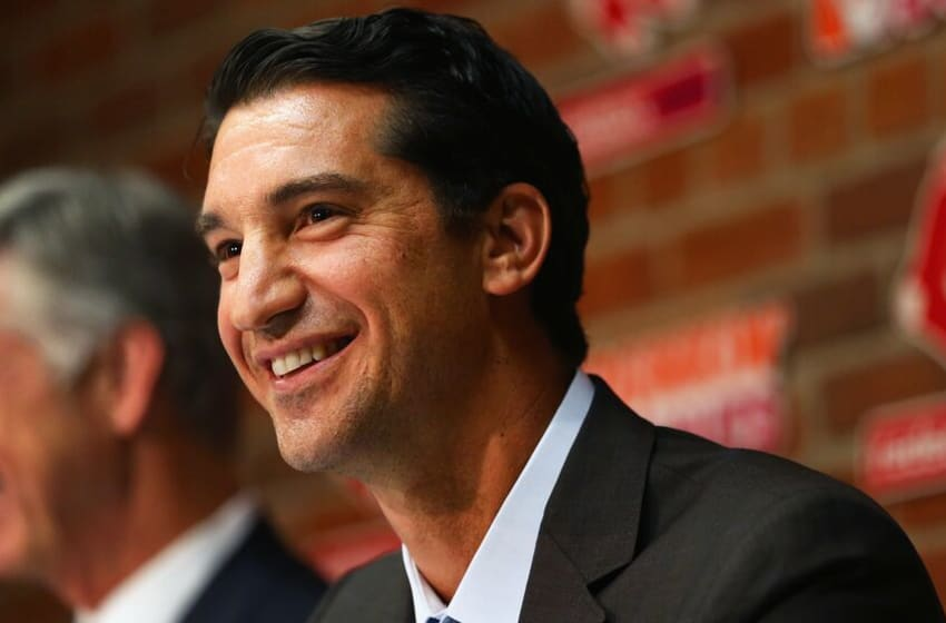 BOSTON, MA - SEPTEMBER 24: Mike Hazen, new Senior Vice President and General Manager of the Red Sox, addresses the media during a press conference to announce his promotion before the game against the Tampa Bay Rays at Fenway Park on September 24, 2015 in Boston, Massachusetts. (Photo by Maddie Meyer/Getty Images)