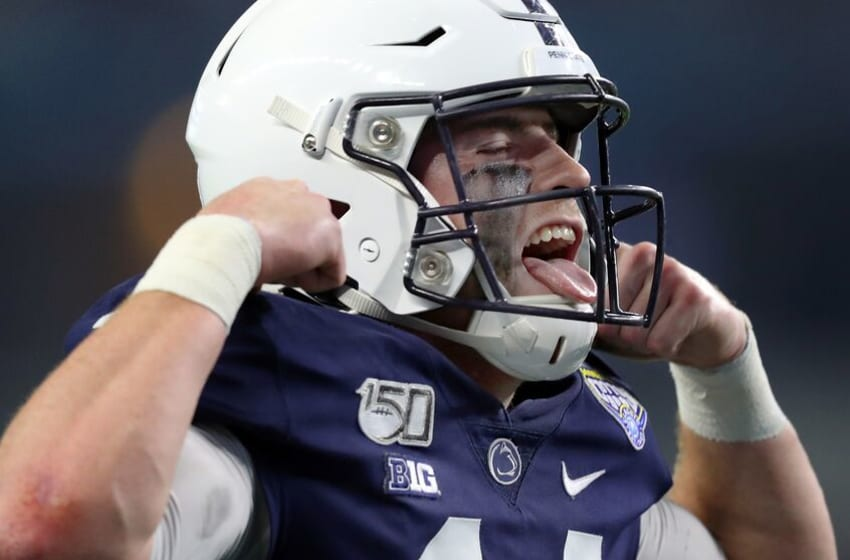 ARLINGTON, TEXAS - DECEMBER 28: Sean Clifford #14 of the Penn State Nittany Lions celebrates after the Nittany Lions scored a touchdown against the Memphis Tigers in the second quarter at AT&T Stadium on December 28, 2019 in Arlington, Texas. (Photo by Tom Pennington/Getty Images)