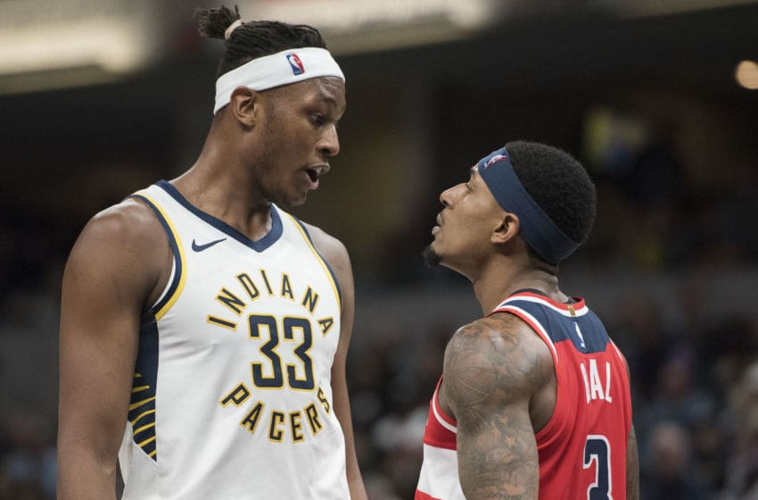INDIANAPOLIS, IN - DECEMBER 10: Myles Turner #33 of the Indiana Pacers and Bradley Beal #3 of the Washington Wizards get in each other's faces in the third period of the game at Bankers Life Fieldhouse on December 10, 2018 in Indianapolis, Indiana. *NOTE TO USER: User expressly acknowledges and agrees that, by downloading and or using this photograph, User is consenting to the terms and conditions of the Getty Images License Agreement.* (Photo by Nic Antaya/Getty Images)