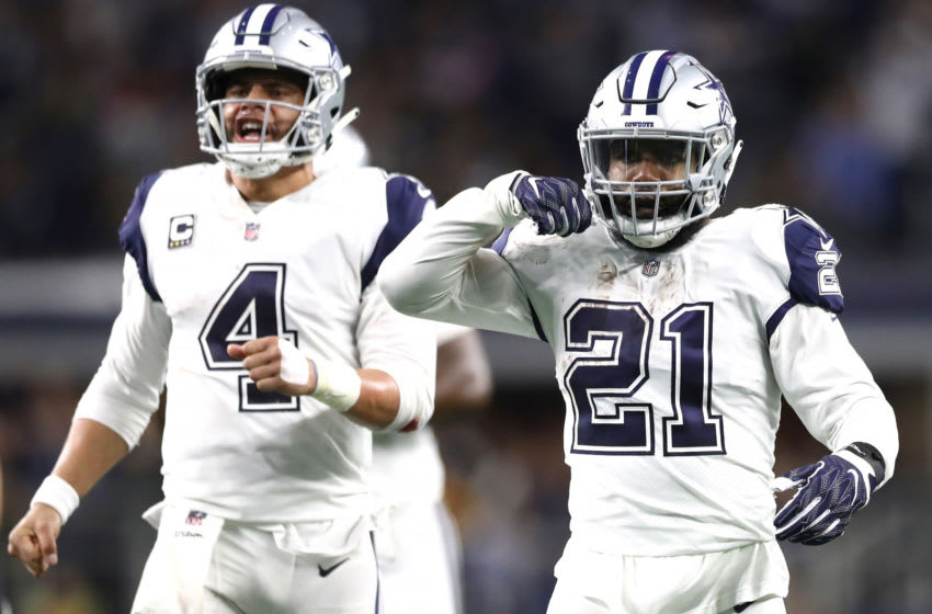 ARLINGTON, TEXAS - NOVEMBER 29: Ezekiel Elliott #21 of the Dallas Cowboys reacts after running for a first down with Dak Prescott #4 in the fourth quarter against the New Orleans Saints at AT&T Stadium on November 29, 2018 in Arlington, Texas. (Photo by Ronald Martinez/Getty Images)