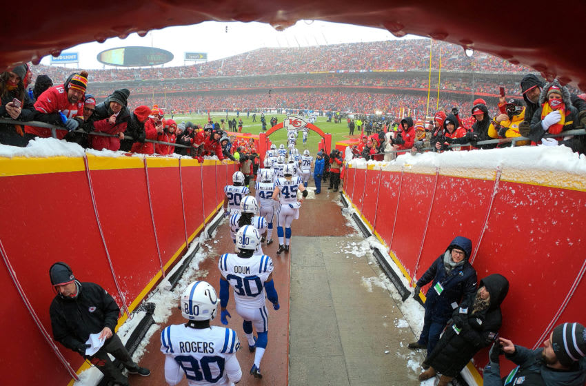 KANSAS CITY, MISSOURI - JANUARY 12: The Indianapolis Colts exit the tunnel onto the field during player introductions prior to the AFC Divisional round playoff game against the Kansas City Chiefs at Arrowhead Stadium on January 12, 2019 in Kansas City, Missouri. (Photo by Jamie Squire/Getty Images)