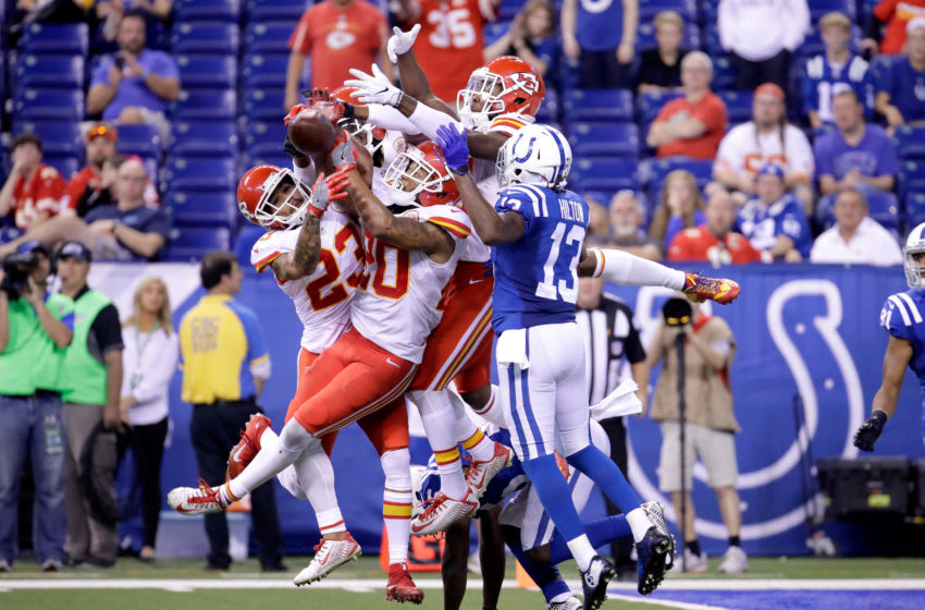 INDIANAPOLIS, IN - OCTOBER 30: The Kansas City Chiefs stops the last pass of the game on fourth down for the Indianapolis Colts at Lucas Oil Stadium on October 30, 2016 in Indianapolis, Indiana. (Photo by Andy Lyons/Getty Images)