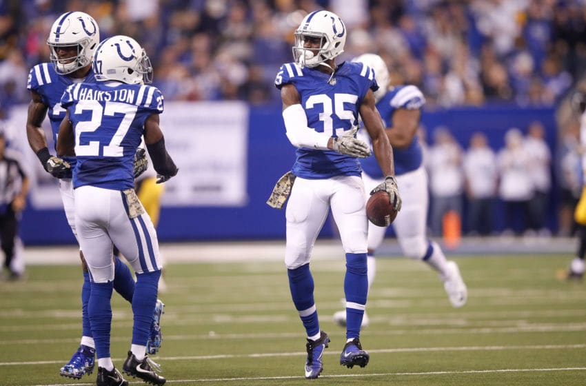 INDIANAPOLIS, IN - NOVEMBER 12: Pierre Desir #35 of the Indianapolis Colts celebrates with Nate Hairston #27 against the Pittsburgh Steelers during the first quarter at Lucas Oil Stadium on November 12, 2017 in Indianapolis, Indiana. (Photo by Joe Robbins/Getty Images)