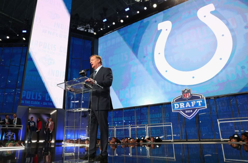 ARLINGTON, TX - APRIL 26: NFL Commissioner Roger Goodell announces a pick by the Indianapolis Colts during the first round of the 2018 NFL Draft at AT&T Stadium on April 26, 2018 in Arlington, Texas. (Photo by Tom Pennington/Getty Images)