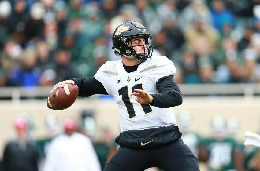 EAST LANSING, MI - OCTOBER 27: David Blough #11 of the Purdue Boilermakers drops back to pass the ball during the game against the Michigan State Spartans at Spartan Stadium on October 27, 2018 in East Lansing, Michigan. (Photo by Rey Del Rio/Getty Images)