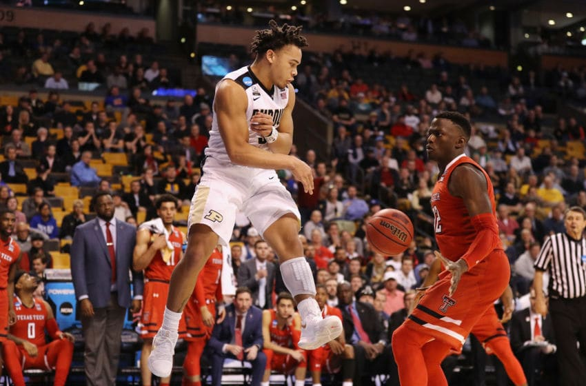BOSTON, MA - MARCH 23: Carsen Edwards #3 of the Purdue Boilermakers passes the ball against Norense Odiase #32 of the Texas Tech Red Raiders during the second half in the 2018 NCAA Men's Basketball Tournament East Regional at TD Garden on March 23, 2018 in Boston, Massachusetts. (Photo by Maddie Meyer/Getty Images)