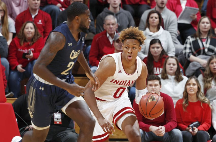 BLOOMINGTON, IN - NOVEMBER 09: Romeo Langford #0 of the Indiana Hoosiers dribbles the ball up court against the Montana State Bobcats in the first half of the game at Assembly Hall on November 9, 2018 in Bloomington, Indiana. The Hoosiers won 80-35. (Photo by Joe Robbins/Getty Images)