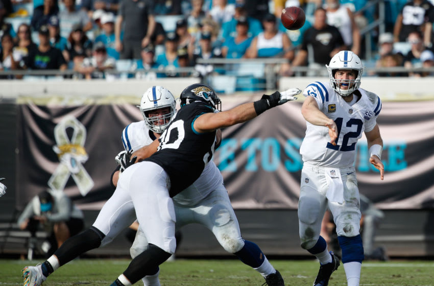 JACKSONVILLE, FL - DECEMBER 02: Andrew Luck #12 of the Indianapolis Colts looks to pass during their game against the Jacksonville Jaguars at TIAA Bank Field on December 2, 2018 in Jacksonville, Florida. (Photo by Joe Robbins/Getty Images)