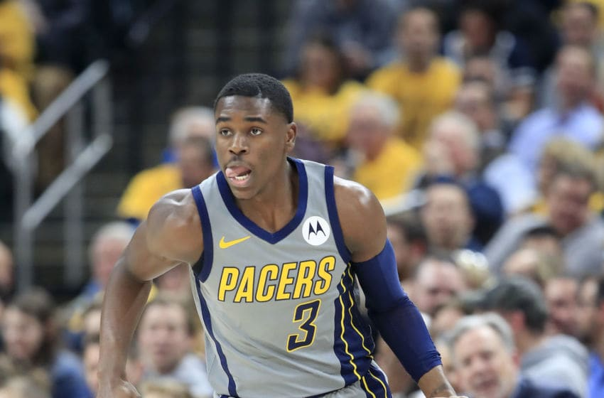 INDIANAPOLIS, INDIANA - JANUARY 28: Aaron Holiday #3 of the Indiana Pacers dribbles the ball against the Golden State Warriors at Bankers Life Fieldhouse on January 28, 2019 in Indianapolis, Indiana. (Photo by Andy Lyons/Getty Images)